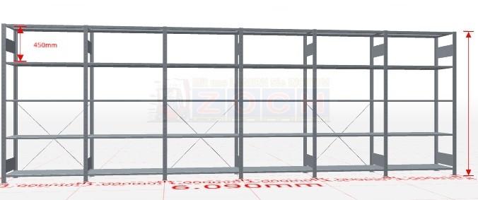 Fachbodenregal Steck-System mit Kreuzstrebe