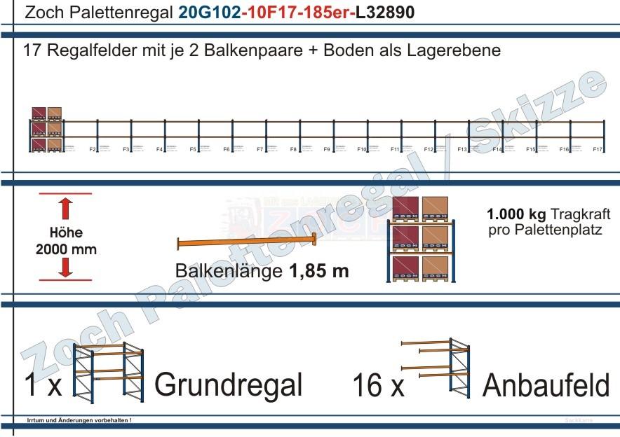 Palettenregal 20G102-10F17 Länge: 32890 mm mit 1000kg je Palettenplatz