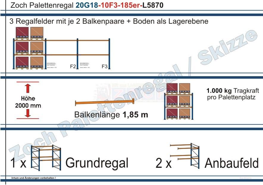 Palettenregal 20G18-10F3 Länge: 5870 mm mit 1000kg je Palettenplatz