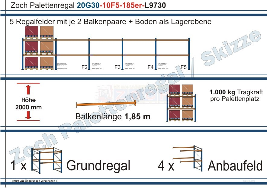 Palettenregal 20G30-10F5 Länge: 9730 mm mit 1000kg je Palettenplatz