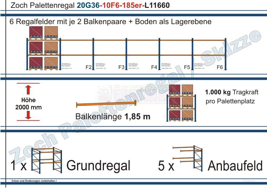 Palettenregal 20G36-10F6 Länge: 11660 mm mit 1000kg je Palettenplatz