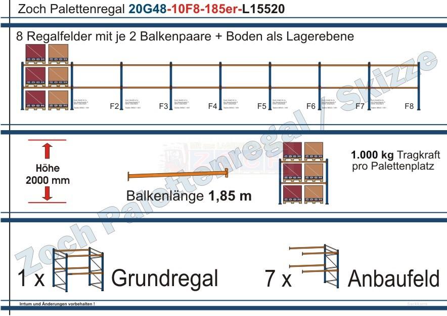 Palettenregal 20G48-10F8 Länge: 15520 mm mit 1000kg je Palettenplatz