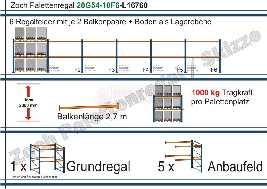 Palettenregal 20G54-10F6 Länge: 16760 mm mit 1000kg je Palettenplatz