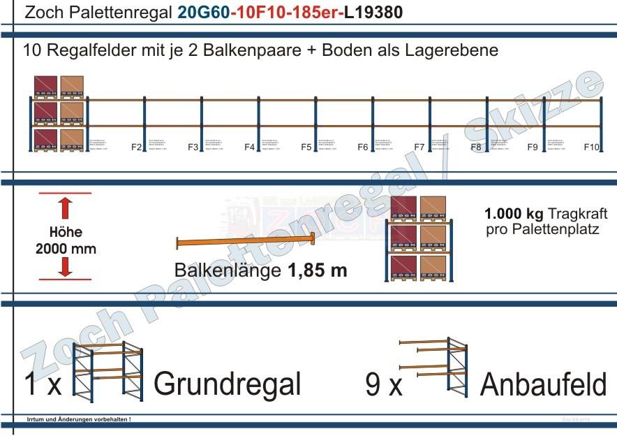 Palettenregal 20G60-10F10 Länge: 19380 mm mit 1000kg je Palettenplatz