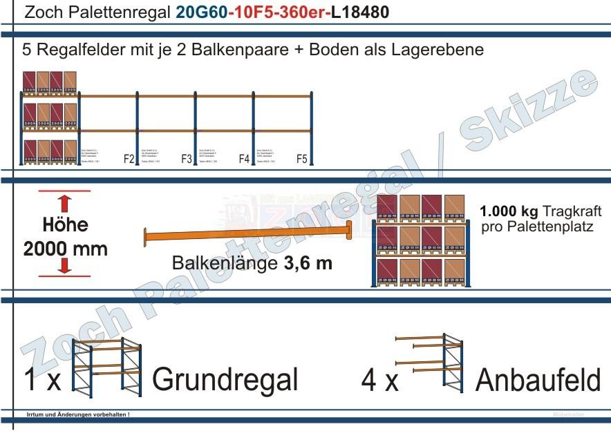 Palettenregal 20G60-10F5 Länge: 18480 mm mit 1000kg je Palettenplatz