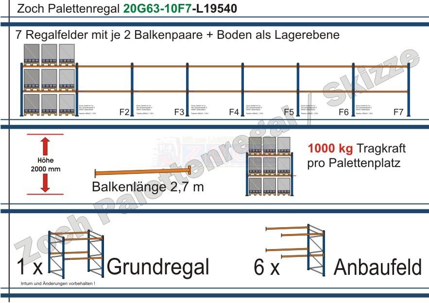 Palettenregal 20G63-10F7 Länge: 19540 mm mit 1000kg je Palettenplatz
