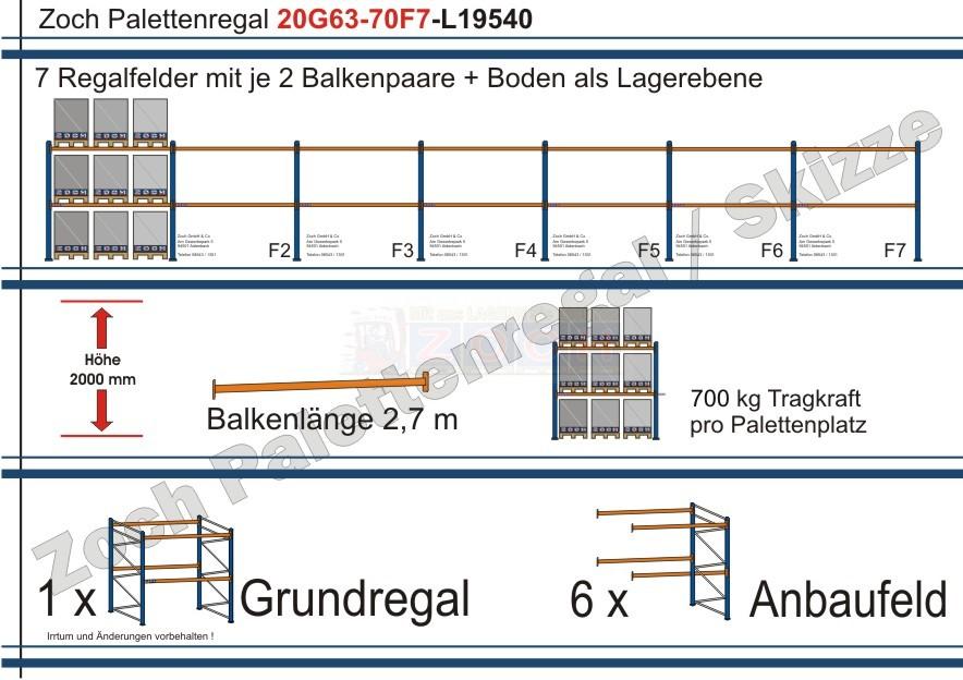 Palettenregal 20G63-70F7 Länge: 19540 mm mit 700kg je Palettenplatz