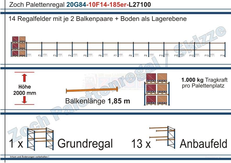 Palettenregal 20G84-10F14 Länge: 27100 mm mit 1000kg je Palettenplatz