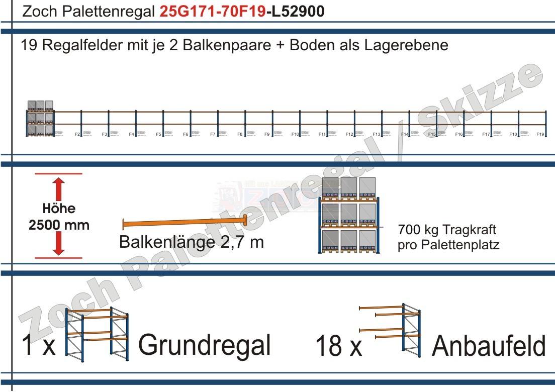 Palettenregal 25G171-70F19 Länge: 52900 mm mit 700kg je Palettenplatz