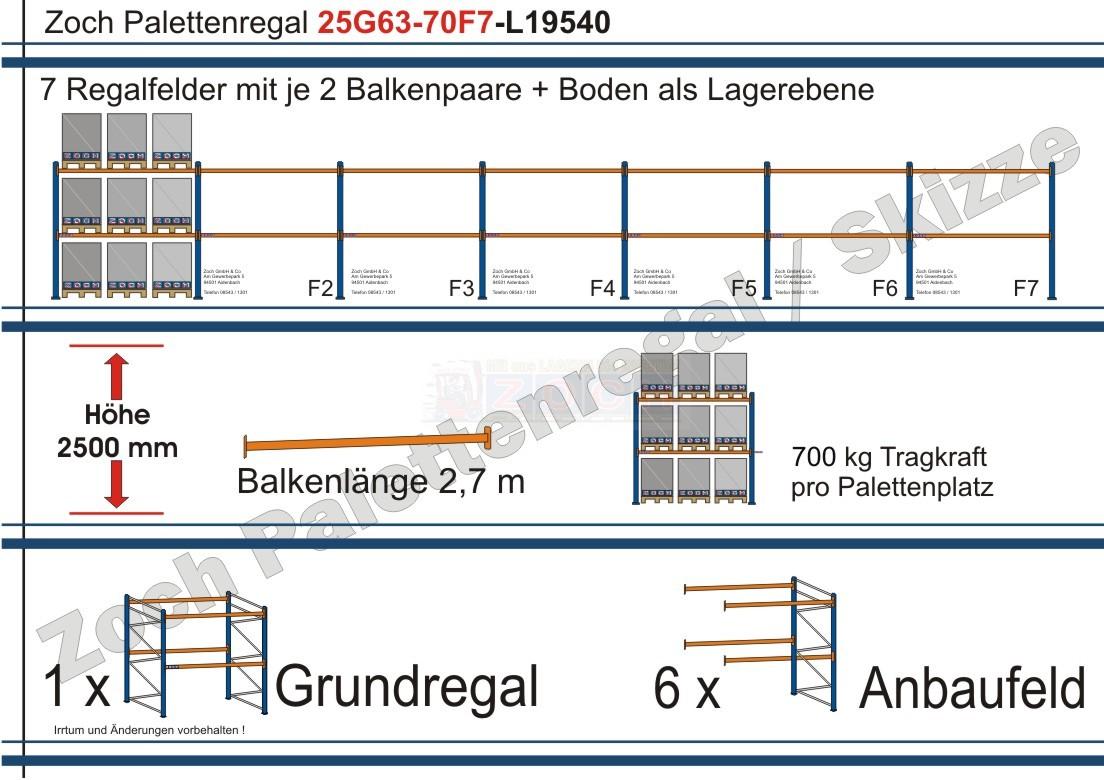 Palettenregal 25G63-70F7 Länge: 19540 mm mit 700kg je Palettenplatz