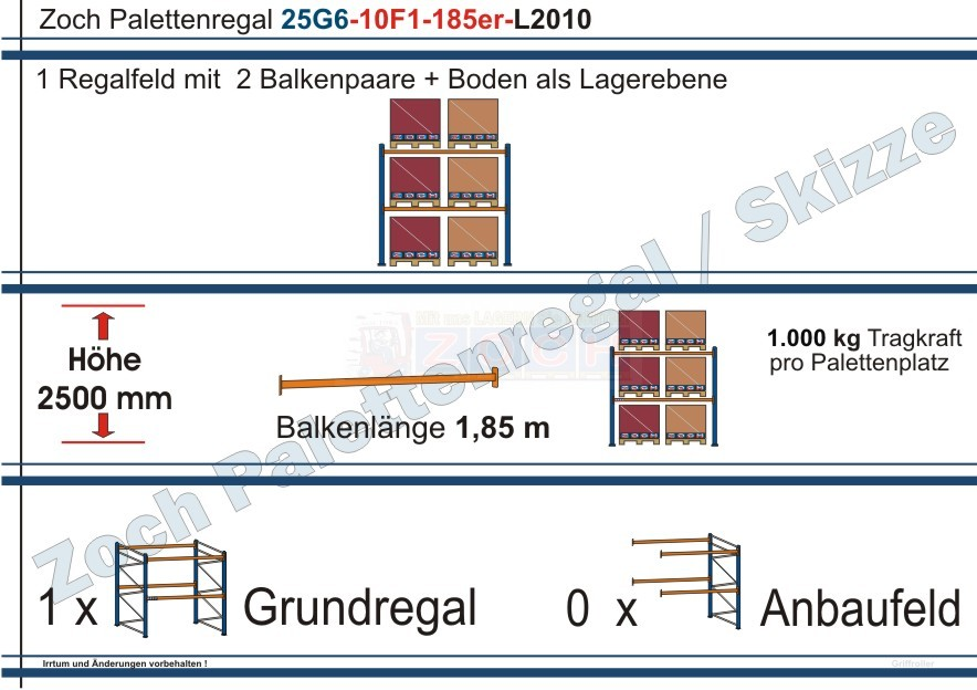 Palettenregal 25G6-10F1 Länge: 2010 mm mit 1000 kg je Palettenplatz