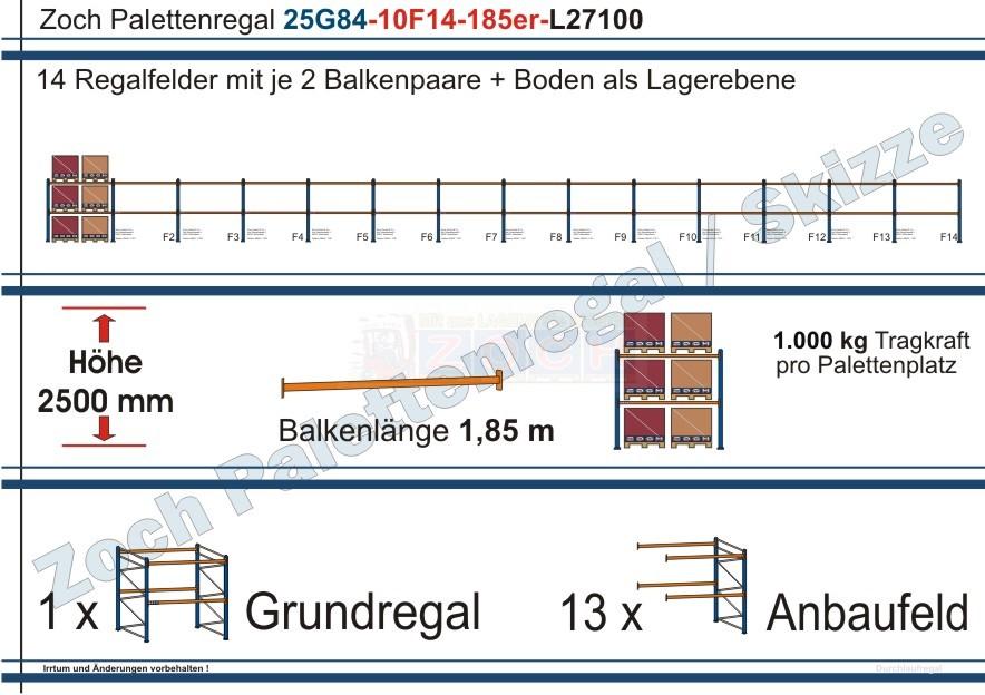 Palettenregal 25G84-10F14 Länge: 27100 mm mit 1000 kg je Palettenplatz