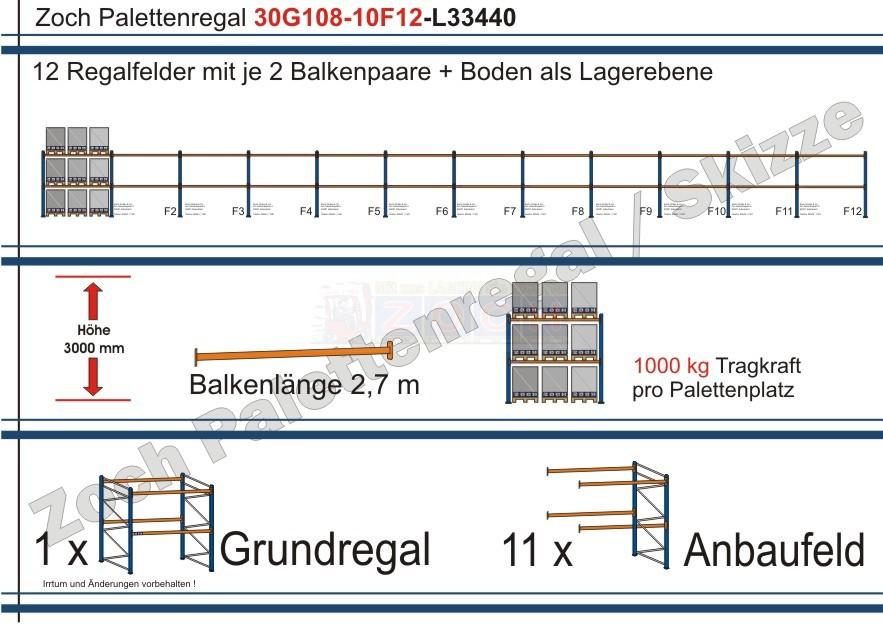Palettenregal 30G108-10F12 Länge: 33440 mm mit 1000kg je Palettenplatz