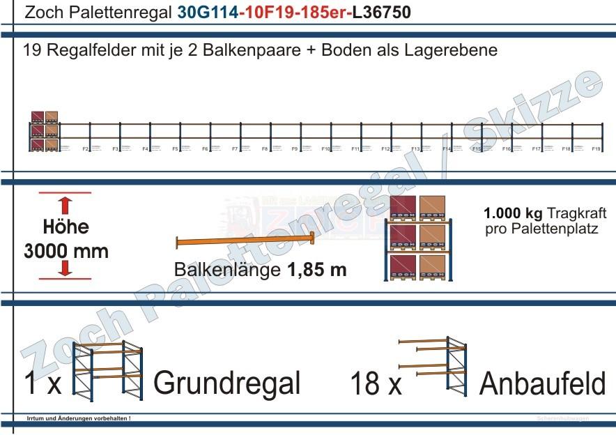 Palettenregal 30G114-10F19 Länge: 36750 mm mit 1000 kg je Palettenplatz