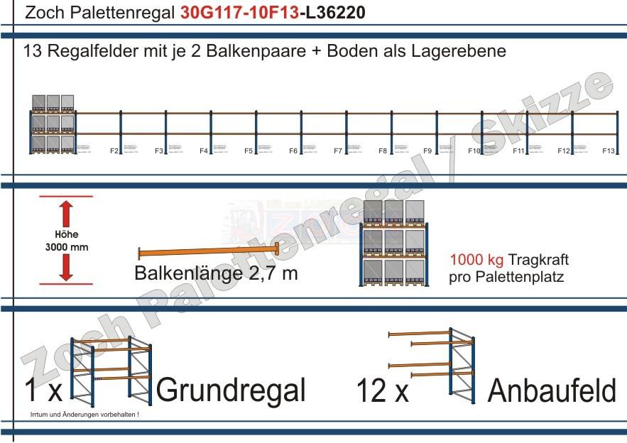 Palettenregal 30G117-10F13 Länge: 36220 mm mit 1000kg je Palettenplatz
