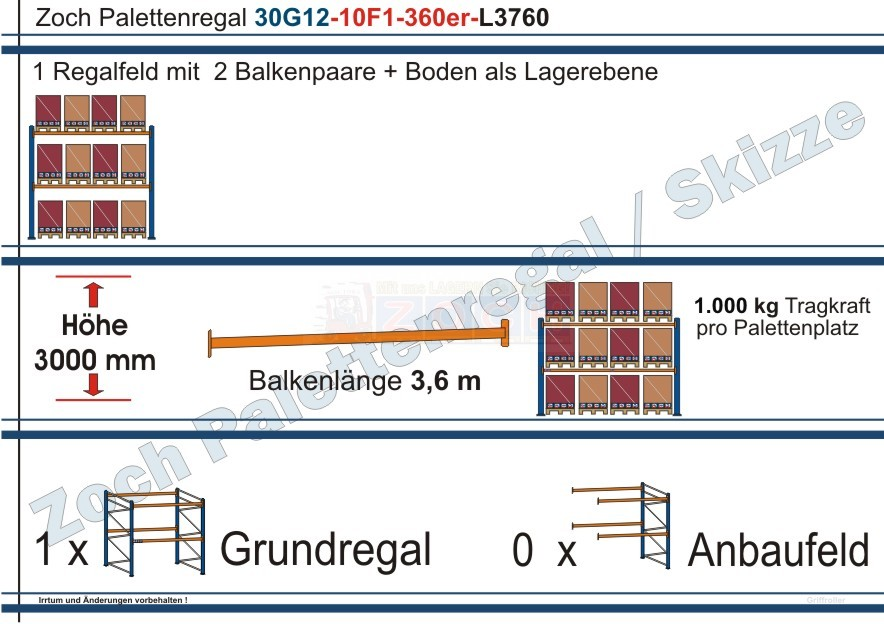 Palettenregal 30G12-10F1 Länge: 3760 mm mit 1000kg je Palettenplatz