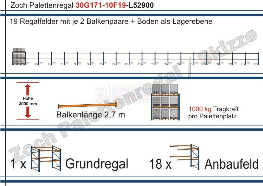 Palettenregal 30G171-10F19 Länge: 52900 mm mit 1000kg je Palettenplatz