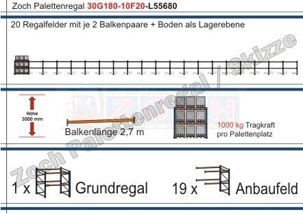 Palettenregal 30G180-10F20 Länge: 55680 mm mit 1000kg je Palettenplatz