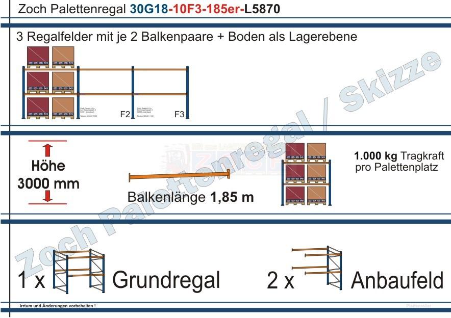 Palettenregal 30G18-10F3 Länge: 5870 mm mit 1000 kg je Palettenplatz