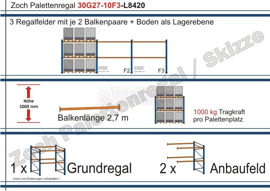 Palettenregal 30G27-10F3 Länge: 8420 mm mit 1000kg je Palettenplatz