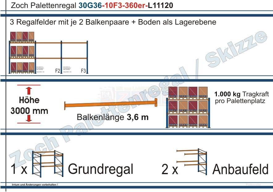 Palettenregal 30G36-10F3 Länge: 11120 mm mit 1000kg je Palettenplatz