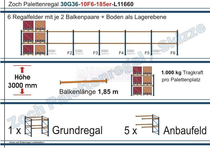 Palettenregal 30G36-10F6 Länge: 11660 mm mit 1000 kg je Palettenplatz