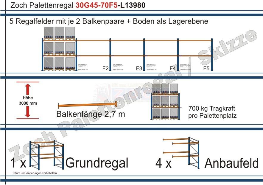 Palettenregal 30G45-70F5 Länge: 13980 mm mit 700kg je Palettenplatz