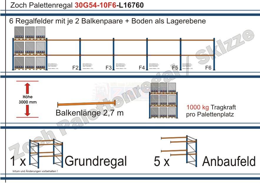 Palettenregal 30G54-10F6 Länge: 16760 mm mit 1000kg je Palettenplatz