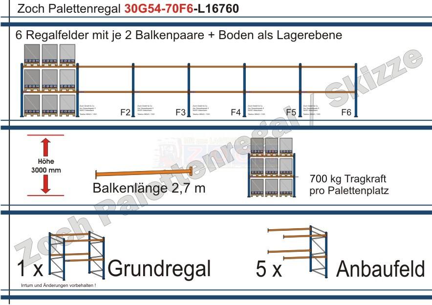 Palettenregal 30G54-70F6 Länge: 16760 mm mit 700kg je Palettenplatz