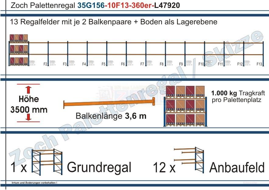 Palettenregal 35G156-10F13 Länge: 47920 mm mit 1000kg je Palettenplatz