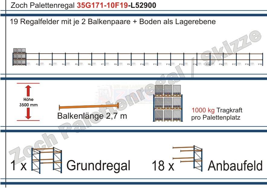 Palettenregal 35G171-10F19 Länge: 52900 mm mit 1000kg je Palettenplatz
