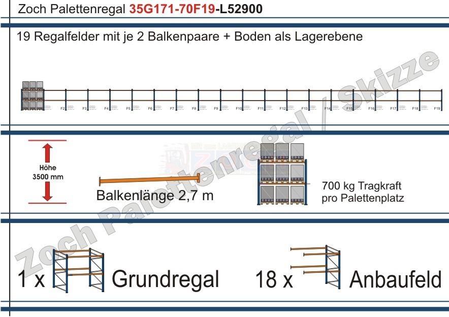 Palettenregal 35G171-70F19 Länge: 52900 mm mit 700kg je Palettenplatz