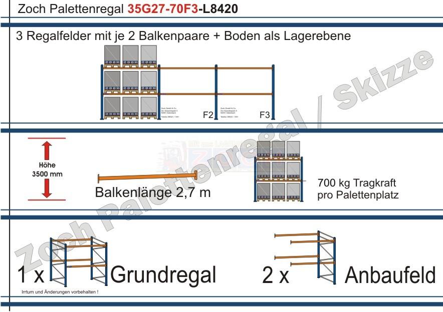 Palettenregal 35G27-70F3 Länge: 8420 mm mit 700kg je Palettenplatz