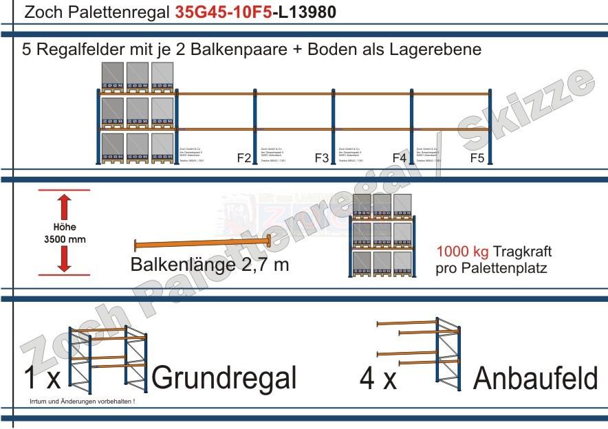 Palettenregal 35G45-10F5 Länge: 13980 mm mit 1000kg je Palettenplatz
