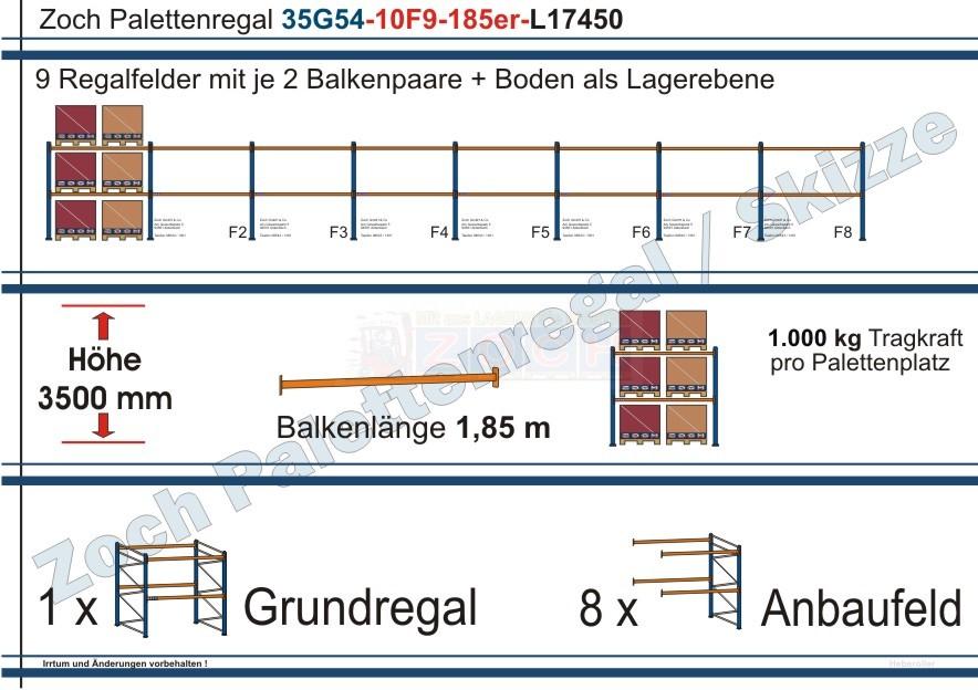 Palettenregal 35G54-10F9 Länge: 17450 mm mit 1000 kg je Palettenplatz