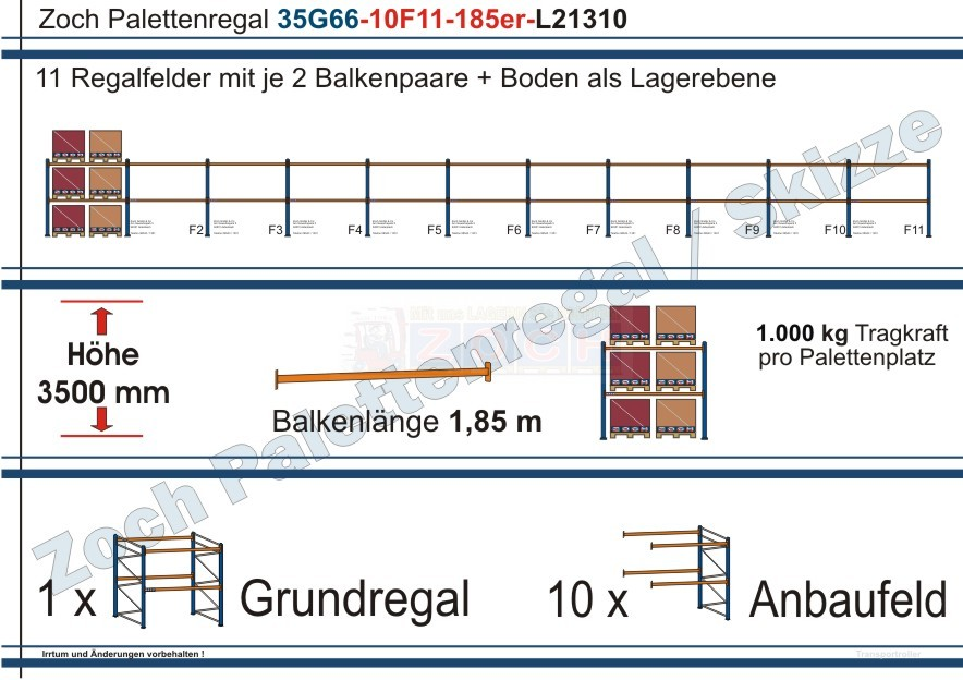 Palettenregal 35G66-10F11 Länge: 21310 mm mit 1000 kg je Palettenplatz