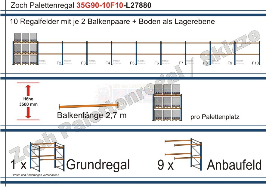 Palettenregal 35G90-10F10 Länge: 27880 mm mit 1000kg je Palettenplatz