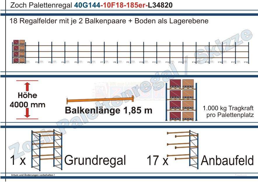 Palettenregal 40G144-10F18 Länge: 34820 mm mit 1000 kg je Palettenplatz