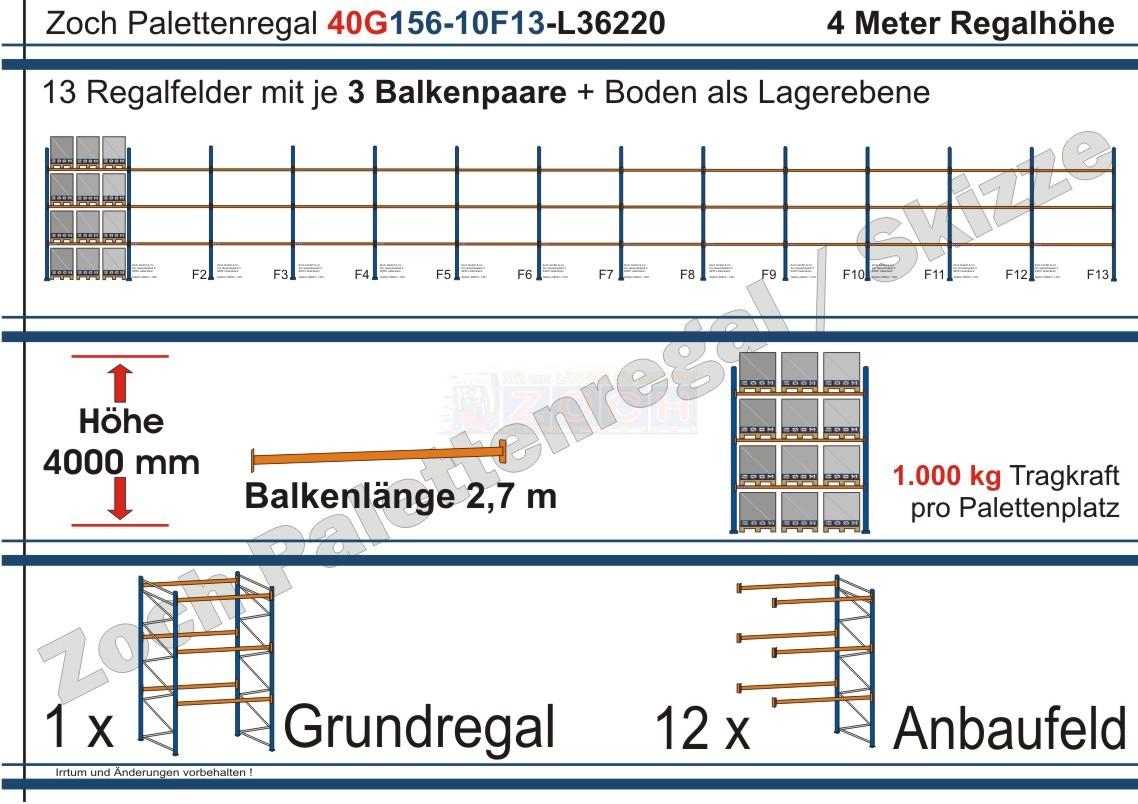 Palettenregal 40G156-10F13 Länge: 36220 mm mit 1000kg je Palettenplatz