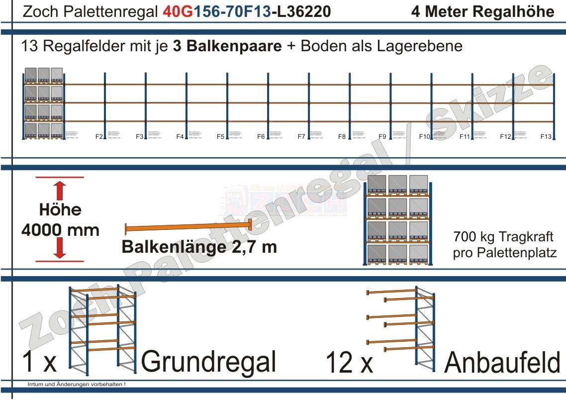 Palettenregal 40G156-70F13 Länge: 36220 mm mit 700kg je Palettenplatz