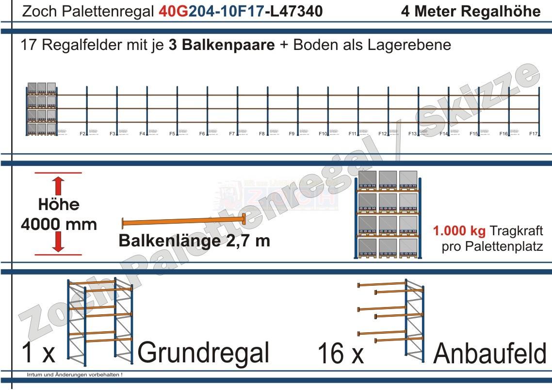 Palettenregal 40G204-10F17 Länge: 47340 mm mit 1000kg je Palettenplatz
