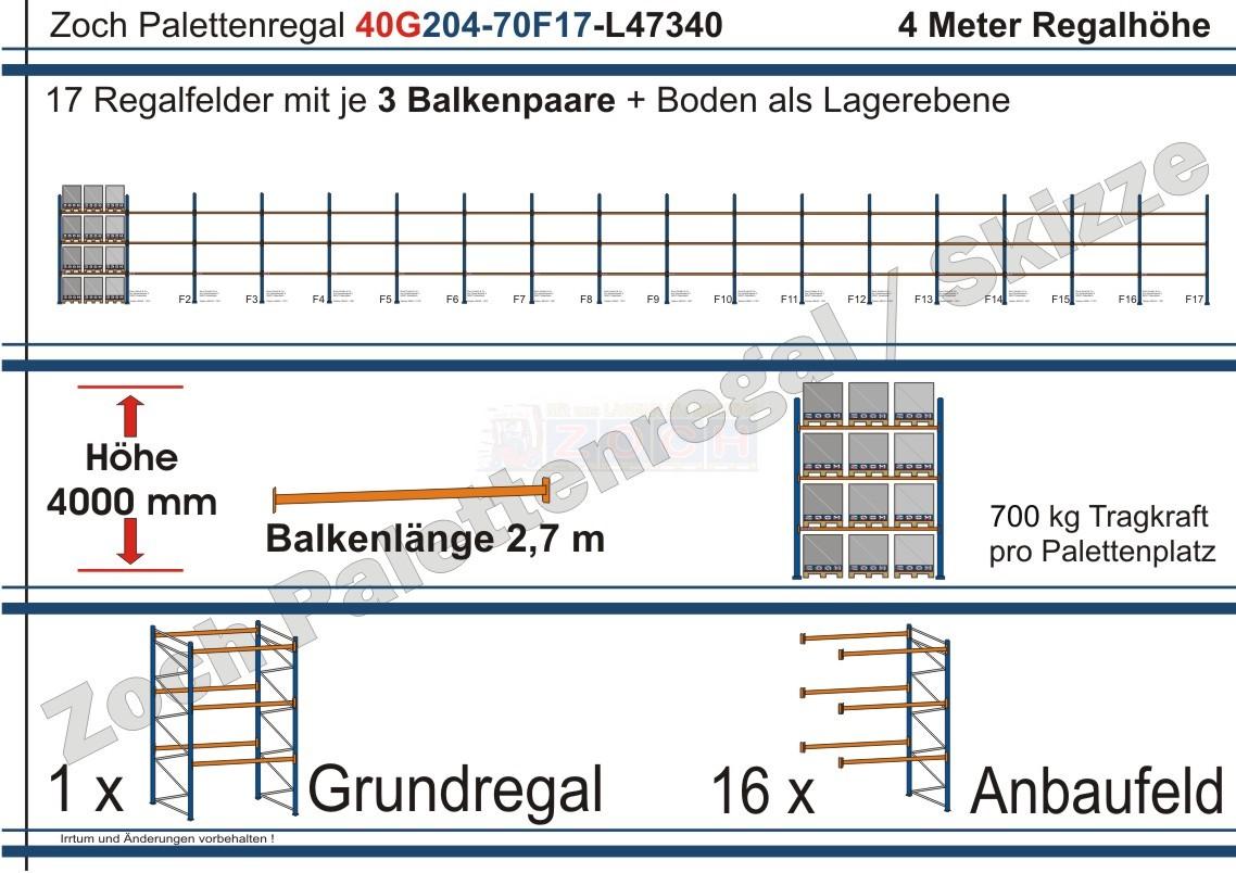 Palettenregal 40G204-70F17 Länge: 47340 mm mit 700kg je Palettenplatz
