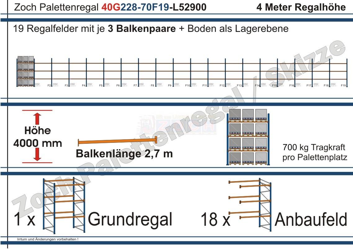 Palettenregal 40G228-70F19 Länge: 52900 mm mit 700kg je Palettenplatz