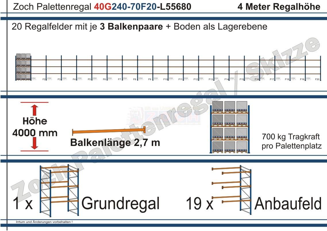 Palettenregal 40G240-70F20 Länge: 55680 mm mit 700kg je Palettenplatz