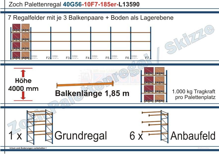 Palettenregal 40G56-10F7 Länge: 13590 mm mit 1000 kg je Palettenplatz
