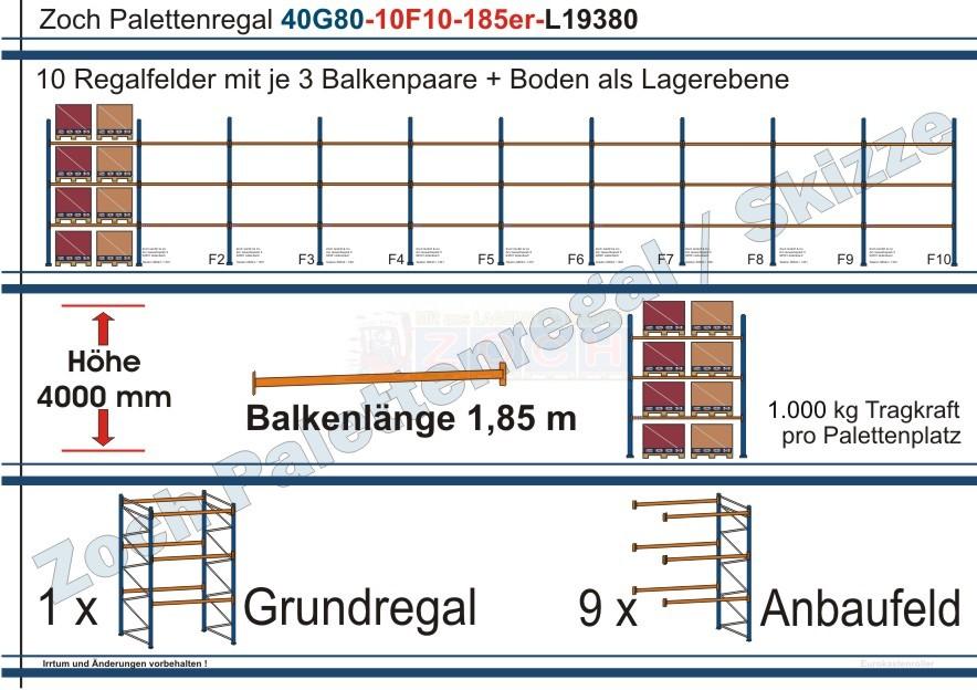Palettenregal 40G80-10F10 Länge: 19380 mm mit 1000 kg je Palettenplatz