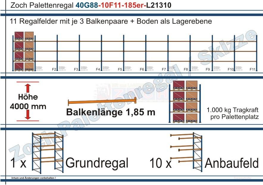 Palettenregal 40G88-10F11 Länge: 21310 mm mit 1000 kg je Palettenplatz