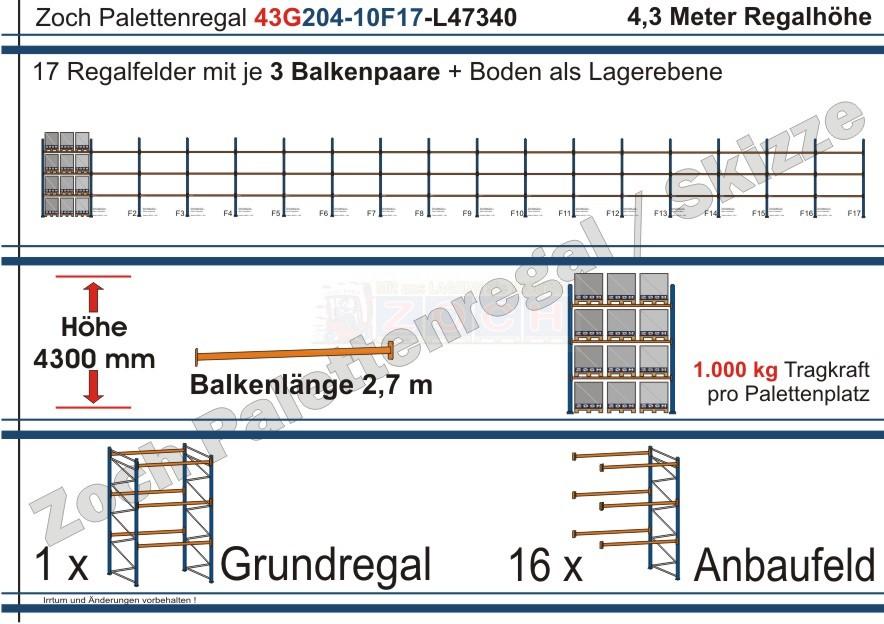 Palettenregal 43G204-10F17 Länge: 47340 mm mit 1000 kg je Palettenplatz