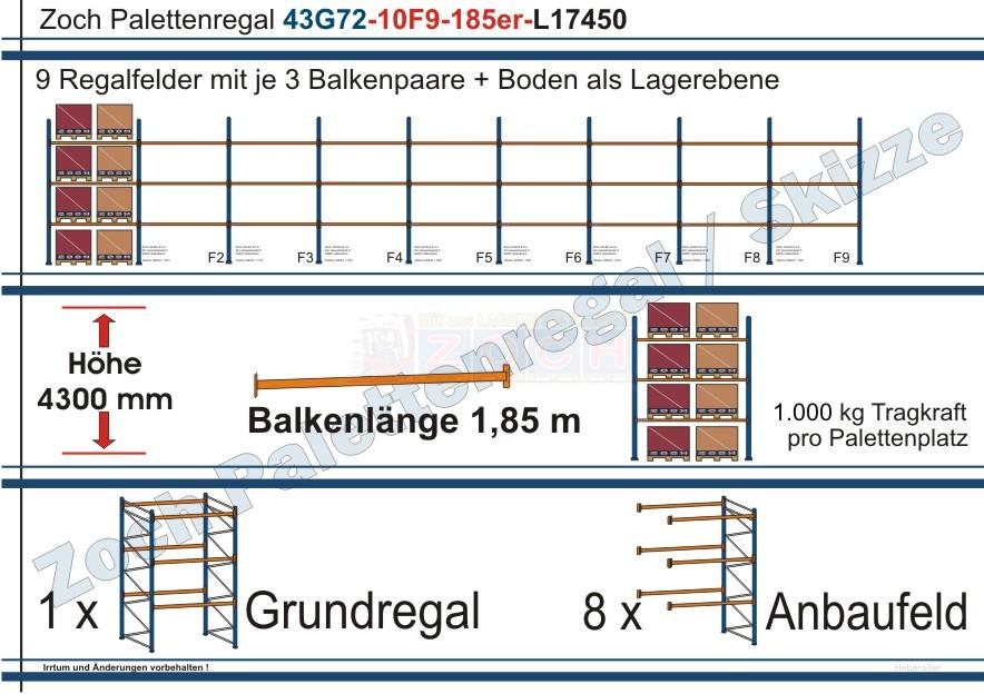 Palettenregal 43G72-10F9 Länge:17450 mm mit 1000 kg je Palettenplatz