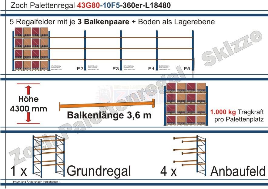Palettenregal 43G80-10F5 Länge: 18480 mm mit 1000kg je Palettenplatz